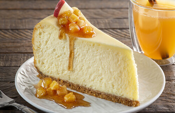 Cheesecake with Cinnamon Spiced Apple Cider Glaze
